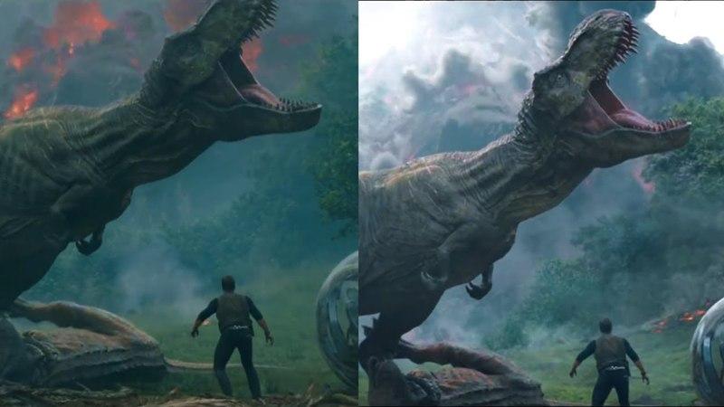Jurassic World: Fallen Kingdom - First Trailer vs. Final CGI/Color grading Comparison [4K]