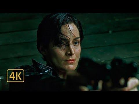 Соберись Тринити, надо встать. Агенты и копы пытаются схватить Тринити. Матрица (1999)