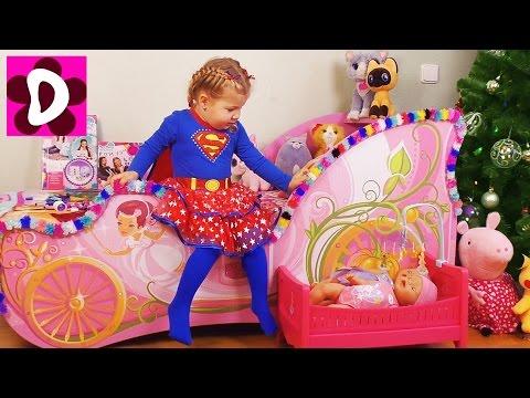DIY Декорируем Кроватку Дианы и Куклы Беби Бон PomPom WOW Видео Для Детей Baby Born Игры для Девочек