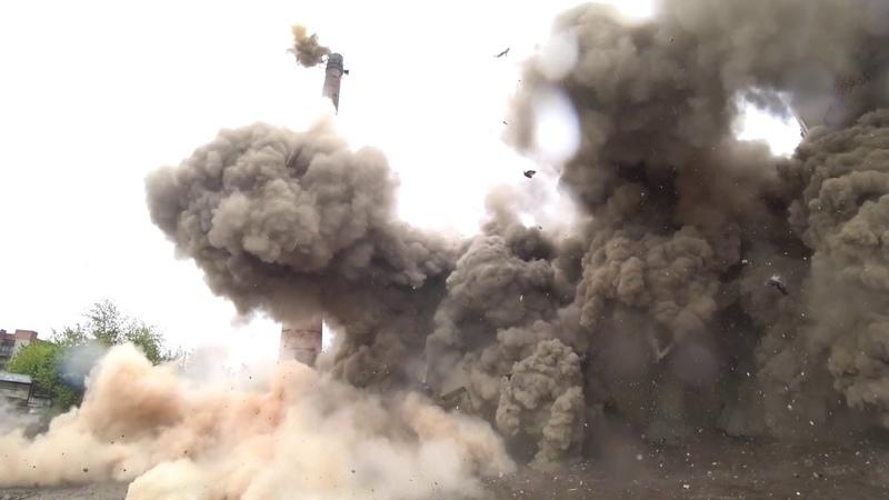 Снос котельной в Красноярске методом промышленного взрыва