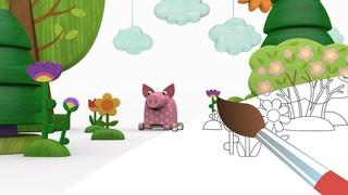 ДЕРЕВЯШКИ - Арбуз - Мультик Раскраска с Деревяшками - Учим Цвета с малышами и раскрашиваем мультики