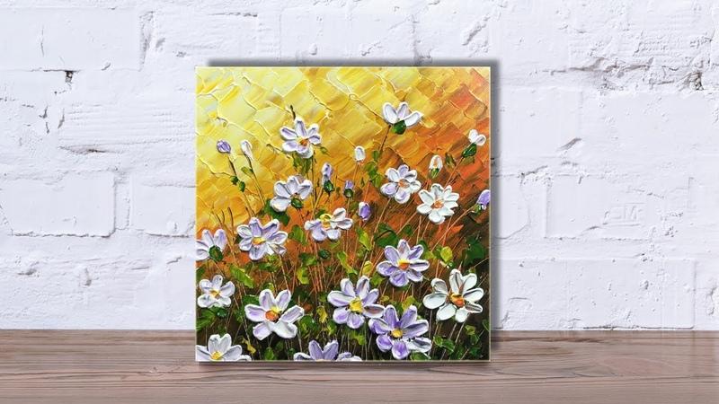 Paint wildflowers with impasto using Heavy body acrylic Part 2