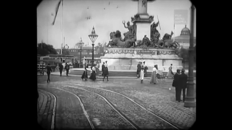 1906 - Tram Ride Through Vienna, Austria (speed corrected w/ added sound)