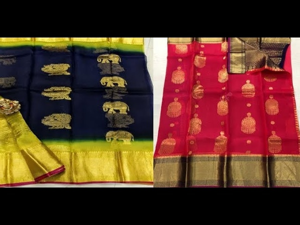 Pure Kanchi Organza Srees With Kanchi Border Latest Collection