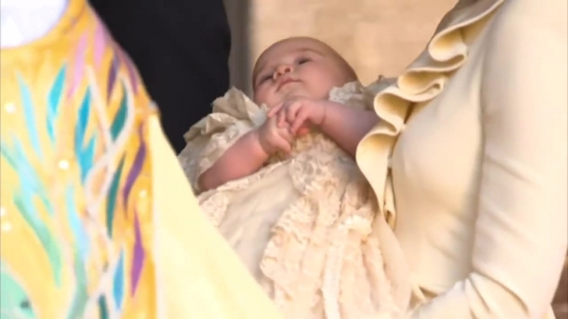 Prince George leaves christening at St Jamess palace in his mothers arms