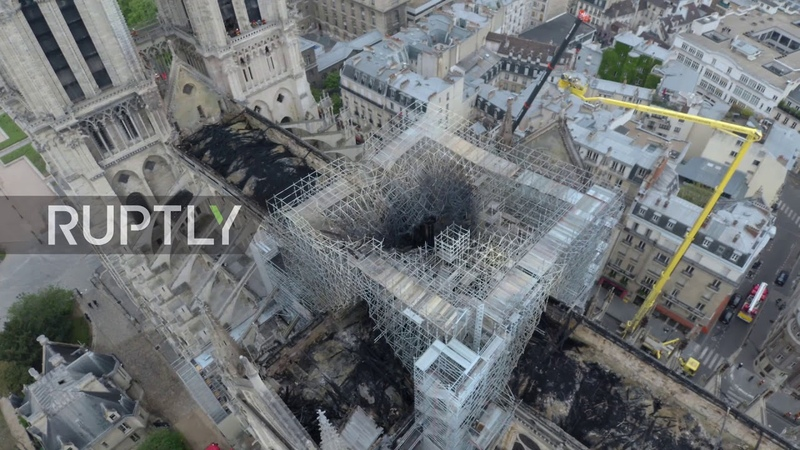 France Drone footage shows damage to roof of Notre Dame