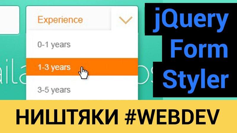 JQuery Form Styler или другой взгляд на формы в HTML!