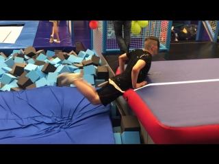 "Air_Slava on Instagram: ""#spacepark #WT23 #WorldTrick23 #3run #doubleback #palmdrop #besttime #trampoline #parkour #traning"""