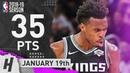 Buddy Hield CLUTCH Full Highlights Kings vs Pistons 2019 01 19 35 Pts GAME WINNER