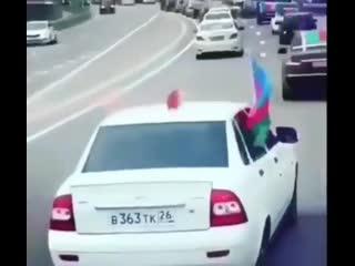 Rusiya yollarında Azərbaycan bayrağı yürüşü!