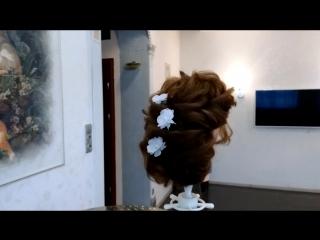 Плетение волос (текстурное), переходящее в низкий пучок (nika nosova)