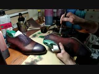 Патинаж уреза подошвы и каблука#Tabunshchikov #Табунщиков #обувь #оксфорд #стиль #bespoke #ручнаяработа #handmade #leathercraft