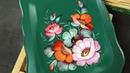 Композиция от угла на зеленом фоне, Жостовская роспись маслом