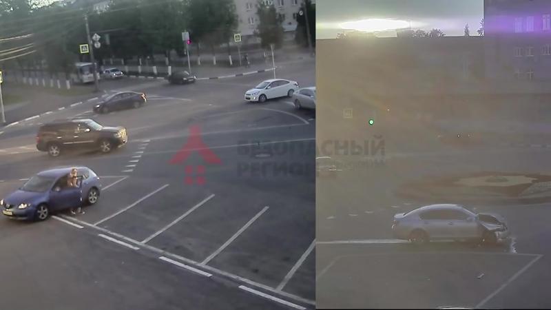 ДТП пл. Мира. 16.06.18. Автоледи после аварии тормозила иномарку ногами