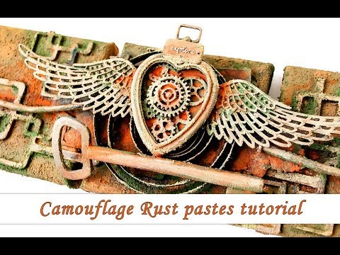 Finnabair Camouflage Rust pastes - mixed media tutorial
