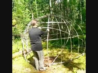 Лесной купол из упаковочной пленки-Дачники