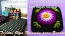 Cuadrado o pastilla a crochet Flor en punto garbanzo con hojas en punto rococó PARA ZURDOS