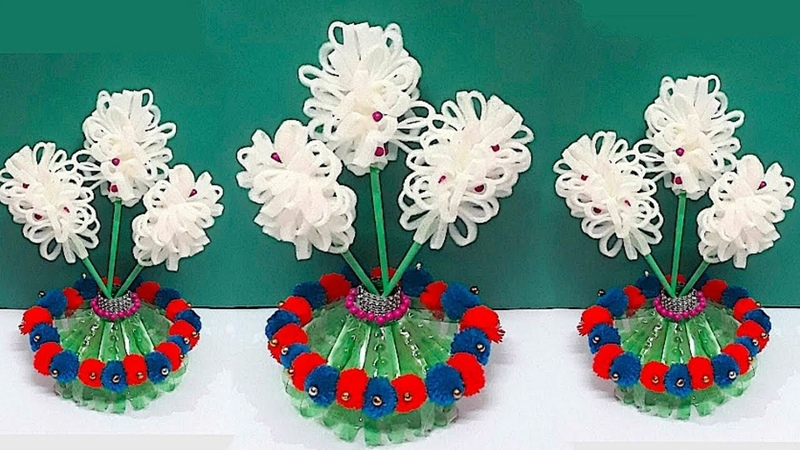 DIY Guldasta flower vase from Plastic Bottle with Foam flower at home Best out of waste