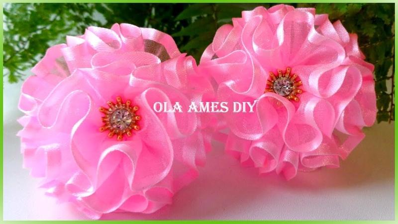 Простые бантики из органзы/ Organza Flower Tutorial/ Flores de Organza/ Ola ameS DIY