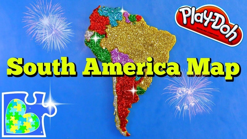 Map of South America for Kids: Part 1 || Learn the Continents || Play-Doh Puzzle