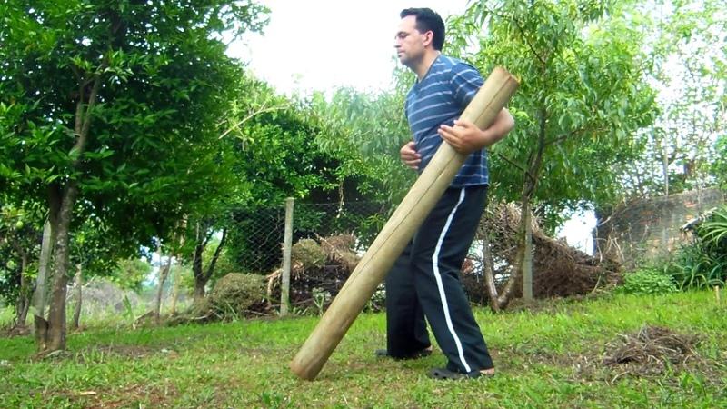 Treino com 'tronco' (antigo instrumento de treino no Kung Fu): demonstração
