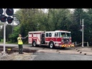 Fire Trucks Wait For Train! Buckingham Branch Railroad Switching Customer
