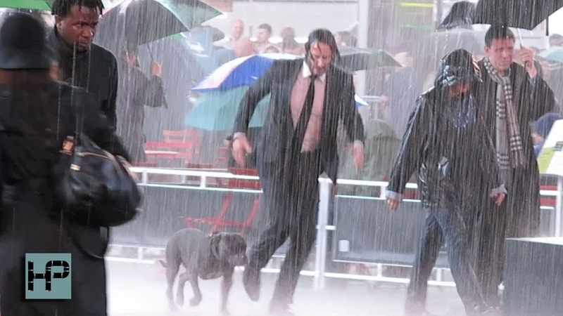 Keanu Reeves and His Canine Co-Star Film John Wick 3 Late into the Night in Times Square