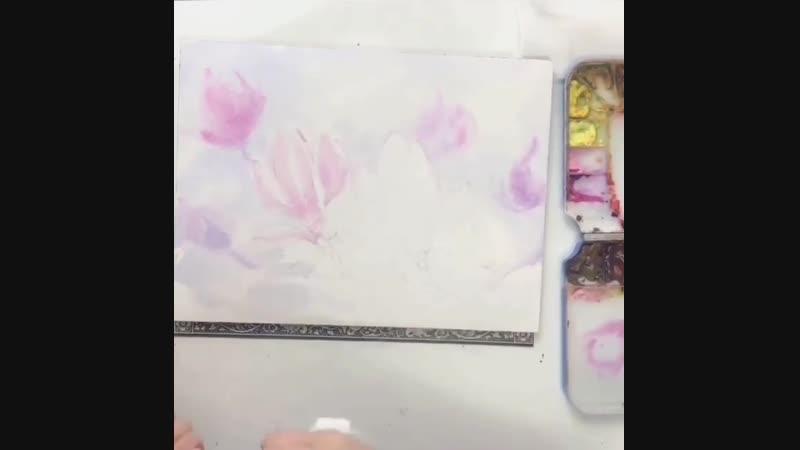 Hyun, jungsook — Пишем акварелью цветок магнолии