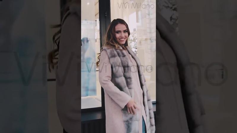 Итальянское пальто с мехом норки