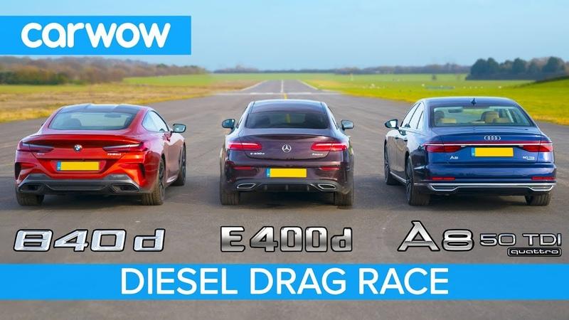 BMW 840d v Mercedes E400d vs Audi A8 50 TDI - Diesel DRAG RACE, ROLLING RACE BRAKE TEST