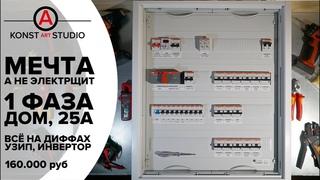 Электрощит мечты для дома на дифавтоматах, 1 фаза, УЗИП, Инвертор/ИБП | KonstArtStudio