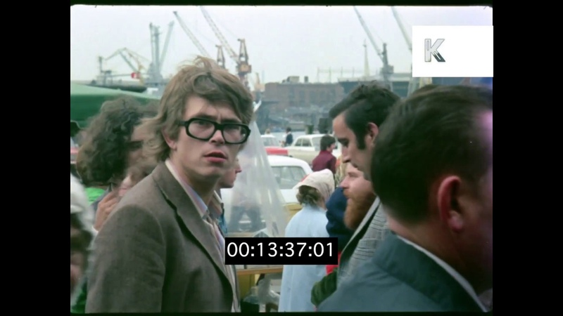 1970s Hamburg, Street Scenes Station, Sausage Market, Germany, HD From 35mm