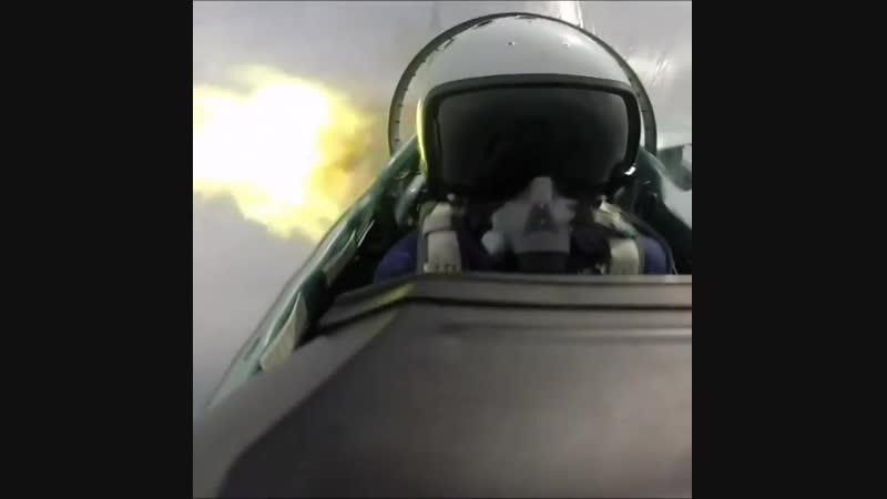 Истребитель Су-35, выстрел из авиационной пушки ГШ-30-1