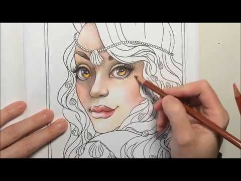 Mermaid coloring skin Part 1 with colored pencils by Ch.Karron