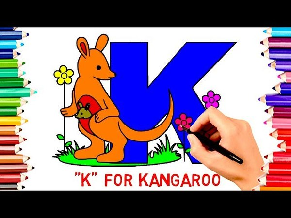 Teach Children Draw Alphabet K For Kangaroo Coloring Book | Kids Learn English Colors Page Video198