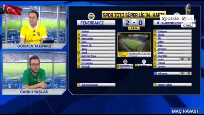 Fenerbahçe - Konyaspor 3-2 Maç Anında Fenerbahçe Tvde Goller