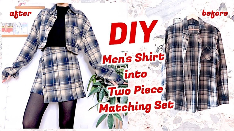 Refashion DIY Mens Shirt into Two Piece Matching Set ファッション 古着リメイク 옷리폼 COSTURAㅣmadebyaya