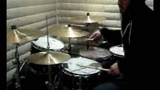 Triplet Groove LickFill Performed In a Hoodie on the Drums and Cymbals With Wooden Drumsticks
