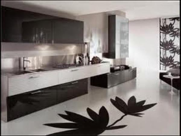 Кухня в черно-белом стиле.