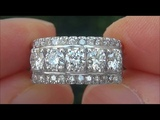 Estate Certified VS1G Natural 5 Stone Diamond Anniversary 14k White Gold Ring - C797