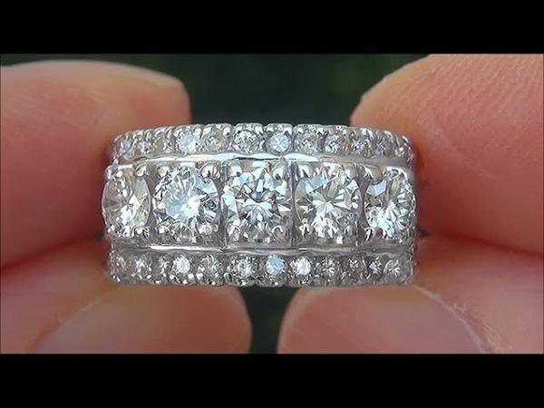 Estate Certified VS1/G Natural 5 Stone Diamond Anniversary 14k White Gold Ring - C797