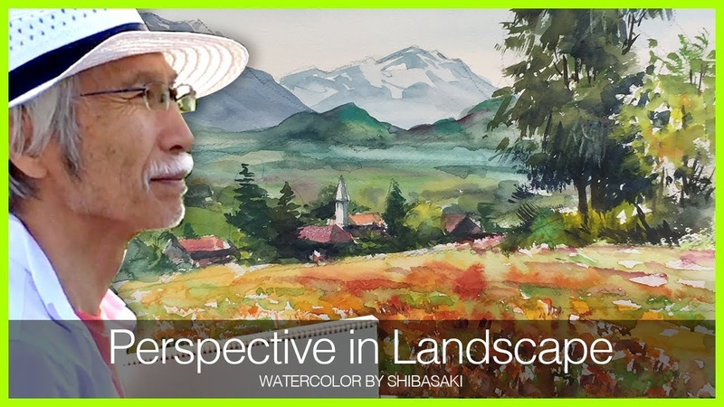 [Eng Sub] How to Paint Perspective in Landscape | Watercolor Tips 水彩画で遠近感のある風景を描く方法