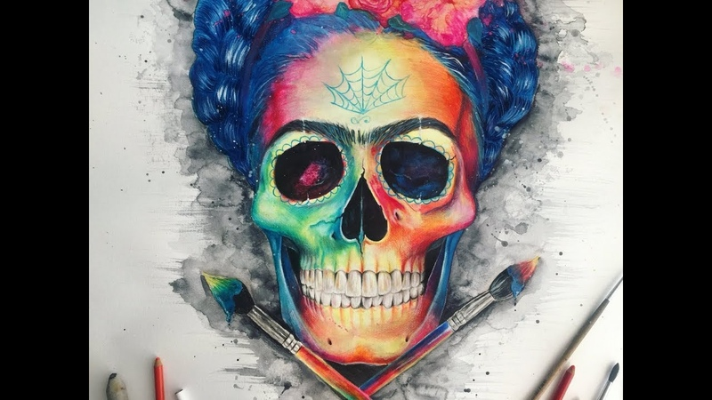 Watercolor Portrait SPEED PAINTING Frida Kahlo skull