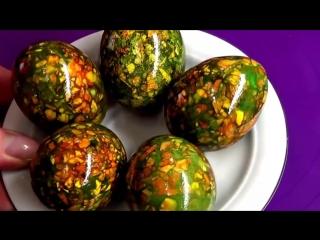Как покрасить яйца на Пасху. Мраморные яйца. Простой способ