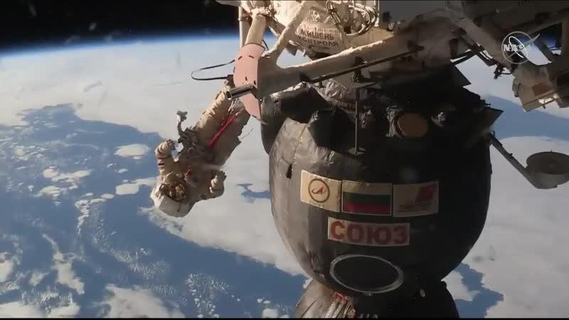 And another spectacular shot of spacewalker Oleg Kononenko working outside the Soyuz orbit