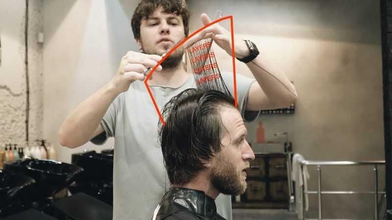 Middle length men's haircut for wavy hair tutorial