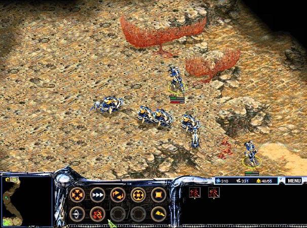 Atrox starcraft clone gameplay 1v2 vs Ai