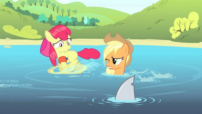 Big Macintosh (pranking Apple Bloom with shark fin)