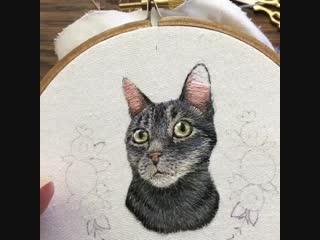 Вышиваем котика гладью