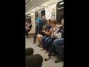 Пьяный мужик пристаёт к девушке в метро